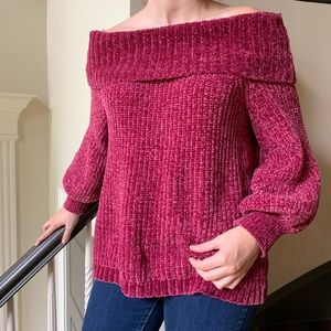 Chenille Fuscia Chunky, Off-the-Shoulder Sweater